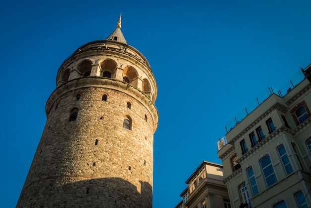 A portrait of galata tower with blue sky background