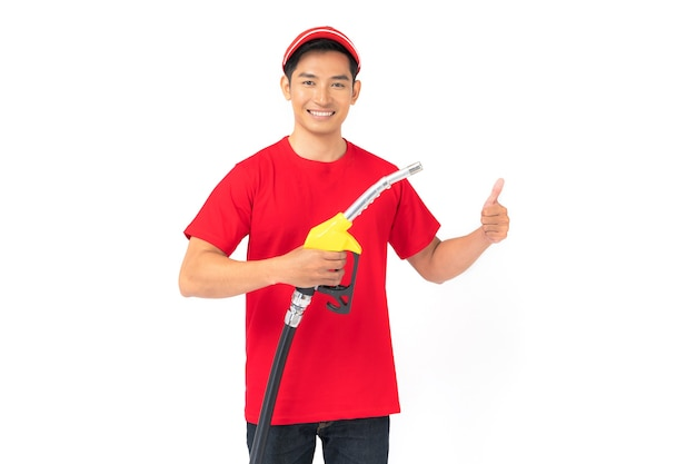 Portrait of gas station worker and service isolated on white