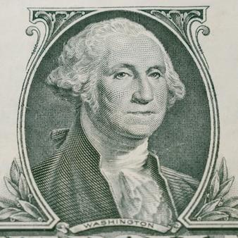 Portrait of george washington on 1 dollar bill