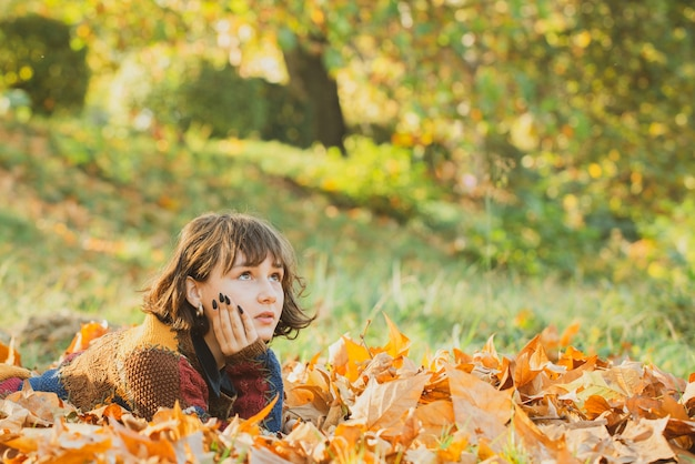 Portrait girl fall woman portrait of happy lovely and beautiful mixed race asian caucasian young wom...