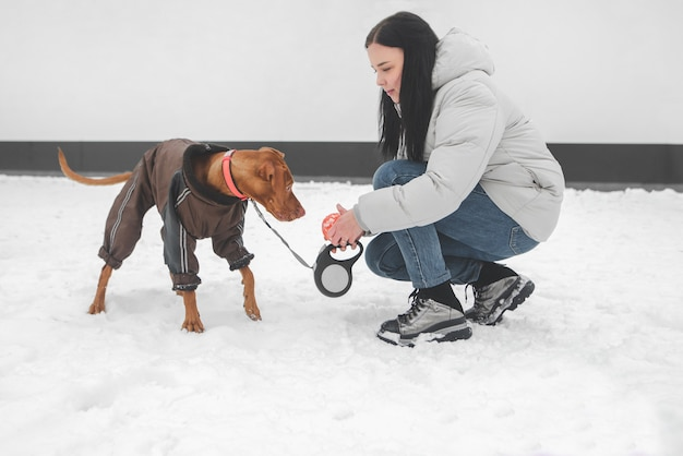 Portrait of a girl playing with a dog in the winter season.