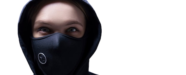 Portrait of a girl in a protective mask