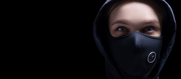 Portrait of a girl in a protective mask.