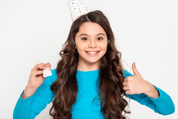 Portrait girl showing ok sign