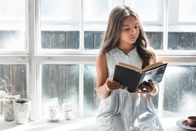 Portrait of a girl sitting in front of window reading book