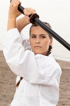 Portrait of girl training outdoor