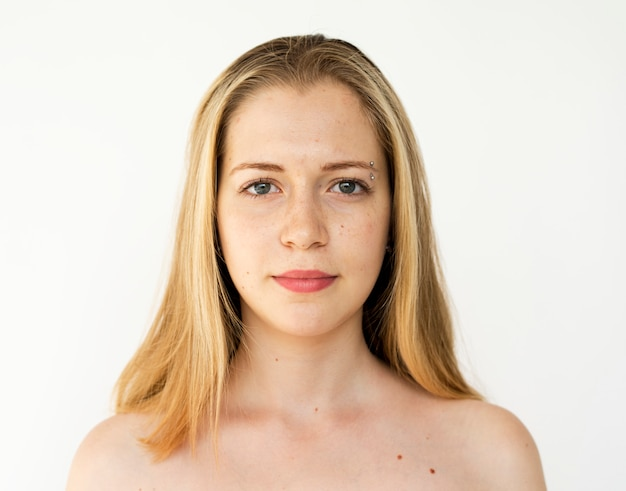 Portrait of a girl with blonde long hair