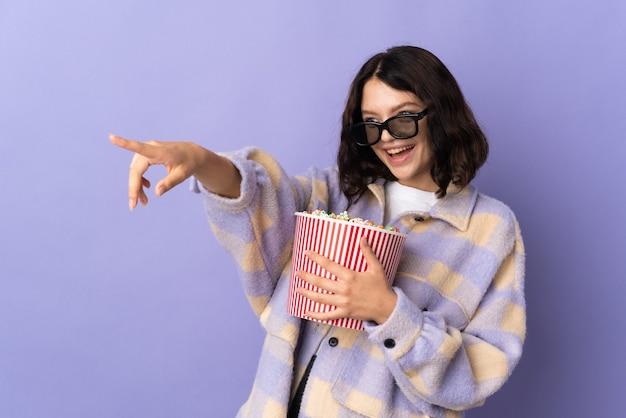 Portrait girl with popcorn