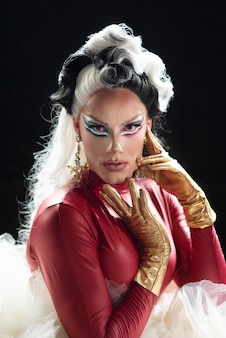 Portrait of glamorous drag queen posing