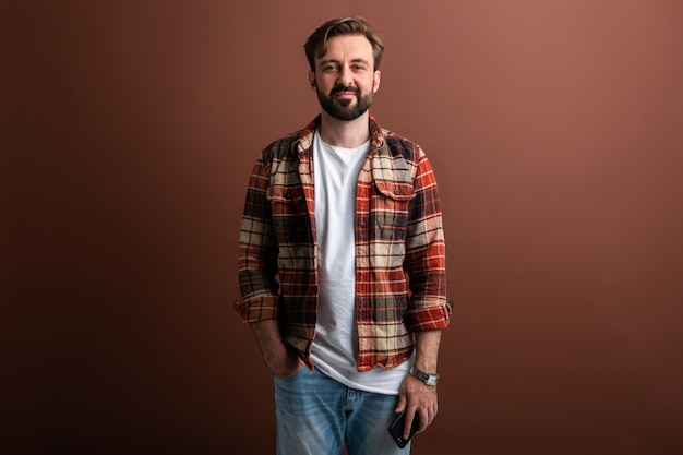 Portrait of goodlooking attractive stylish bearded man on brown
