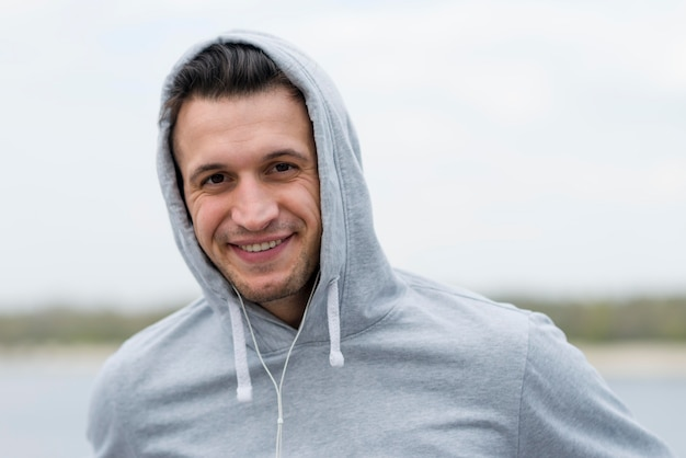 Portrait of handsome adult male smiling