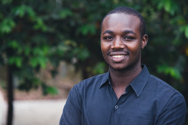 Portrait of a handsome african man smiling.