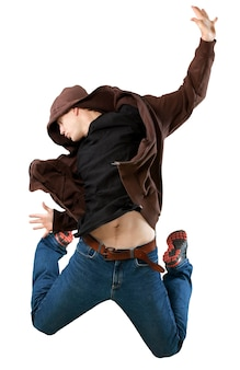 Portrait of handsome happy young man jumping isolated on white background