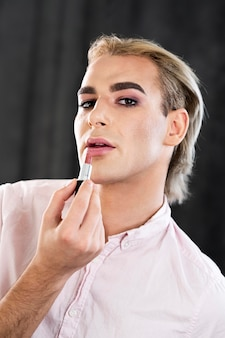 Portrait of handsome male make-up look