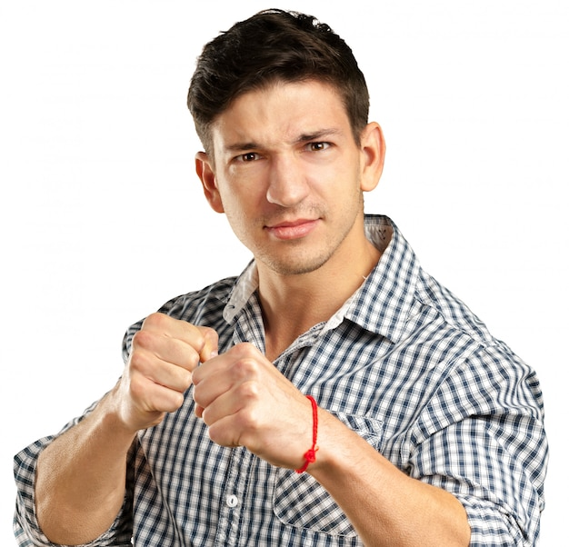 Portrait of handsome man ready to fight