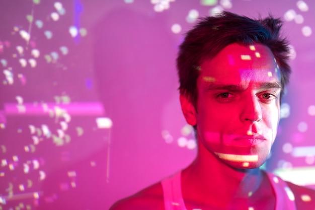 Portrait of handsome man in vaporwave style