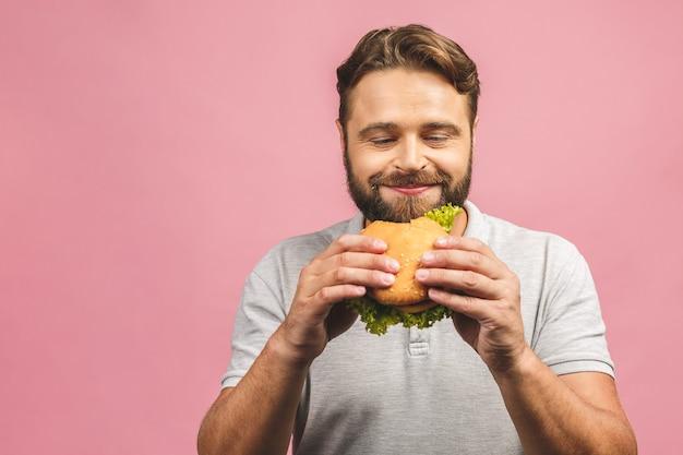 食べる肖像画ハンサムな若い男