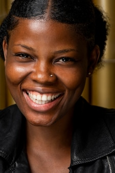 Portrait of happy african woman close-up