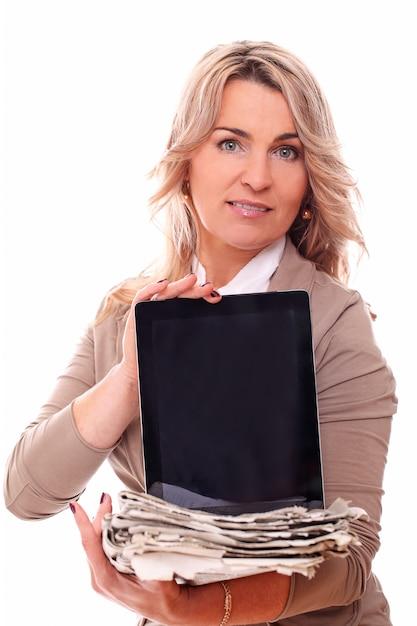 Portrait of happy aged businesswoman