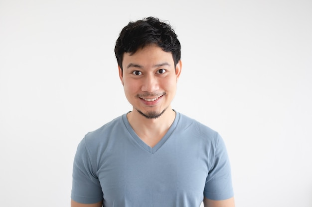 Portrait of happy asian man in blue t-shirt on isolated white