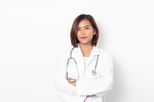 Portrait happy asian woman doctor isolated