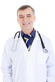 Portrait of happy cheerful successful male doctor with stethoscope