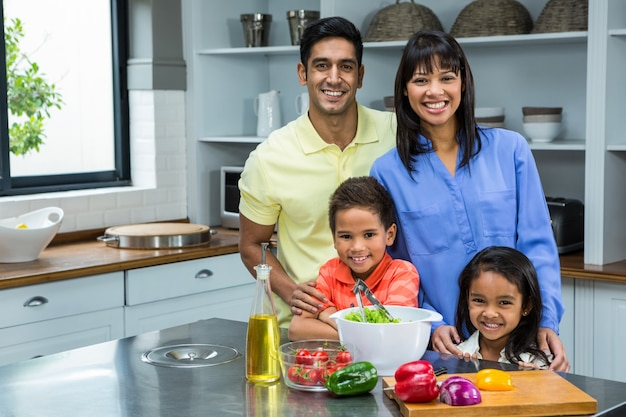 Portrait of happy family in the kitchen
