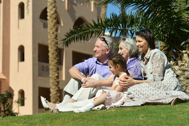 Portrait of a happy family on tropical resort