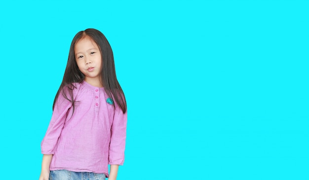 Portrait of happy little asian child girl isolated