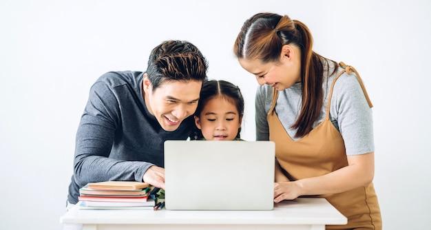 Portrait happy smiling asian family