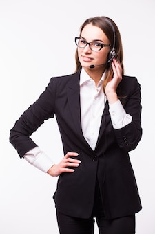 Portrait of happy smiling cheerful support phone operator in headset, isolated on white wall