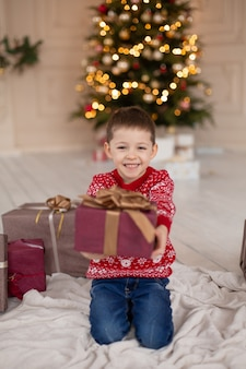 Portrait happy smiling little boy in red knitted sweater with christmas present box near tree