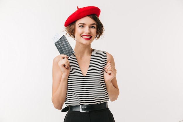 Portrait of a happy woman wearing red beret