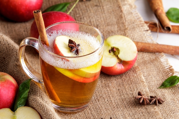Portrait of hard apple cider with cinnamon stick and apple slice