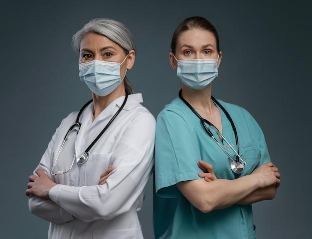Portrait of hardworking female doctors