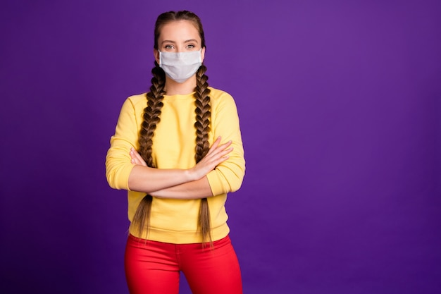 Portrait of her she nice attractive content girl wearing safety mask folded arms stop flu flue grippe disease copy space isolated bright vivid shine vibrant violet purple lilac color background