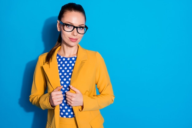 Portrait of her she nice-looking attractive charming content elegant chic lady leader shark expert qualified lawyer attorney posing isolated bright vivid shine vibrant blue color background