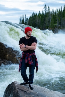 Portrait of hipster traveler