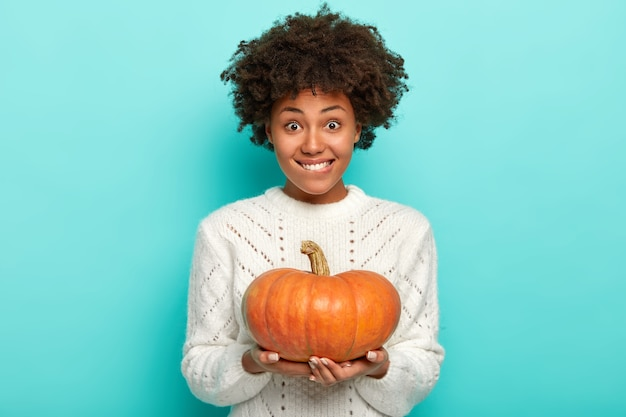 Portrait of housewife has curly hair, dressed in warm comfortable sweater, smiles pleasantly, holds pumpkin on both hands, prepares for thanksgiving