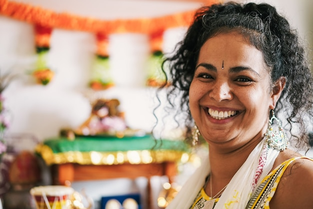 Portrait of indian woman during hindu celebration event