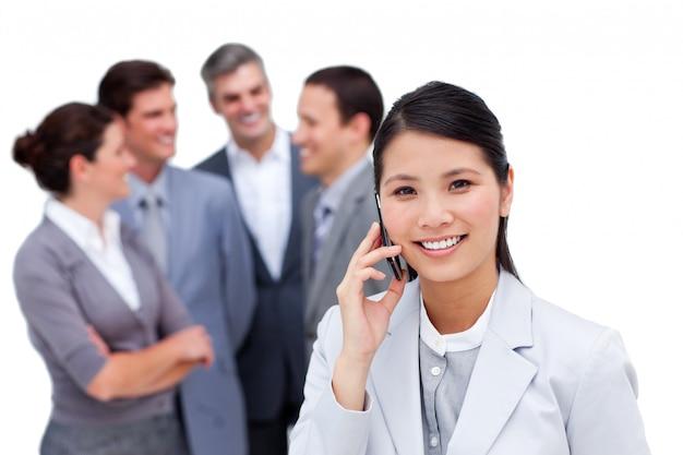 Portrait of an international business team talking together
