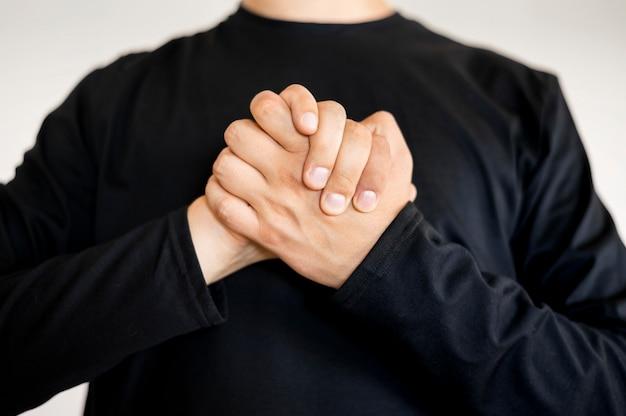 Portrait of interpreter teaching sign language