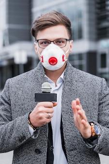Portrait journalist man with mask