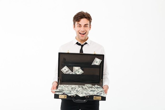 Portrait of a joyful young businessman