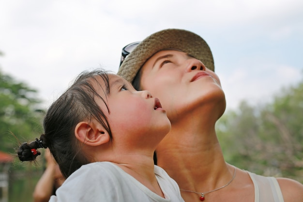 Portrait of kid girl with young mother looking up.
