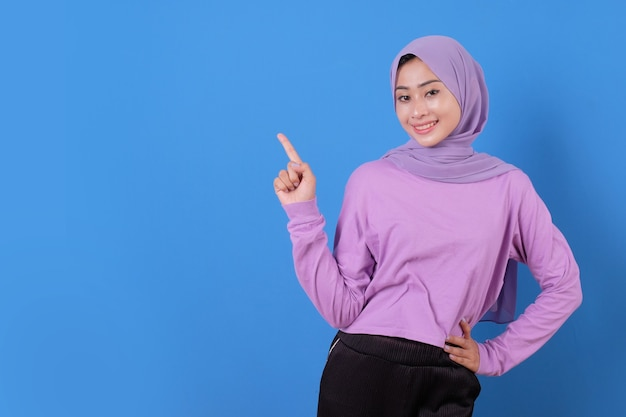 Portrait of lady casual beautiful pointing smile expression