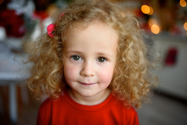 Portrait of a little beautiful girl with curly hair