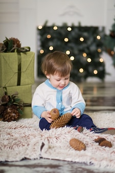 Portrait of a little boy play with pine cones near a christmas tree, christmas decorations, merry christmas and happy new year 2020,