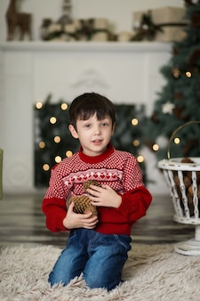 Portrait of a little boy play with pine cones near a christmas tree. christmas decorations.