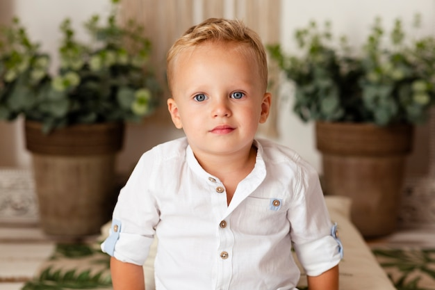 Portrait of little boy posing